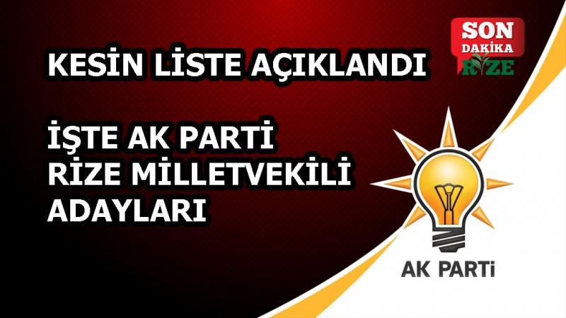 AK Parti Rize Milletvekili Adayları Belli Oldu