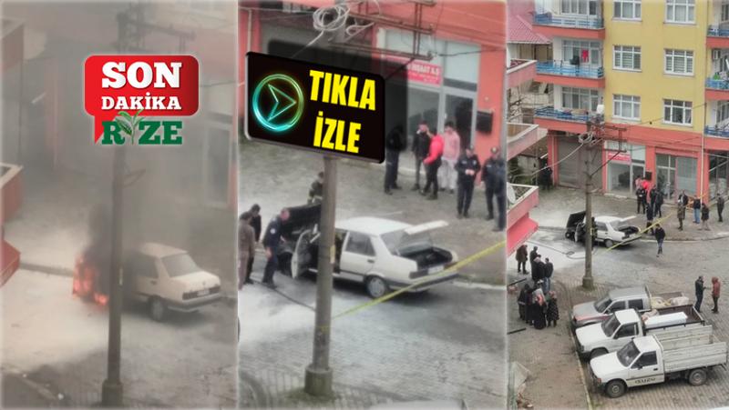 Ardeşen'de Seyir Halindeki Araç Bir Anda Alev Alarak Yandı