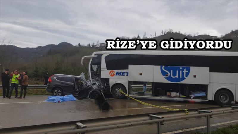 Rize'ye Giden Yolcu Otobüsü Ciple Çarpıştı: 1 Ölü