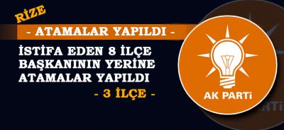 AK Parti Rize'de İlçe Başkanlıklarına Atamalar Yapıldı