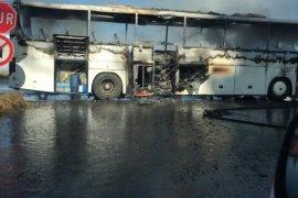 Rize'de Yolcu Otobüsü Yandı