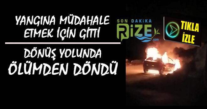 Rize'de Otomobil Seyir Halindeyken Yandı