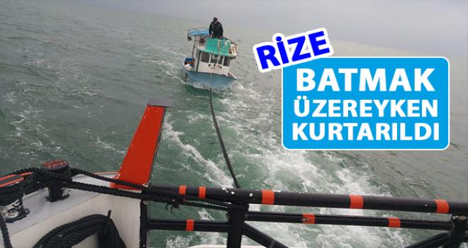 Rize'de Bir Tekne Batmak Üzereyken Kurtarıldı
