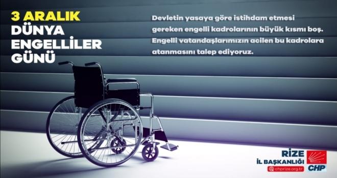 CHP Rize İl Bşk. Deniz'den Engelliler Günü Mesajı
