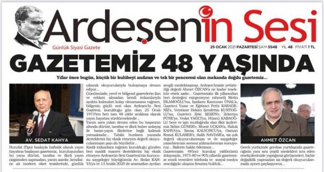 Ardeşen'in Sesi Gazetesi 48 Yaşında