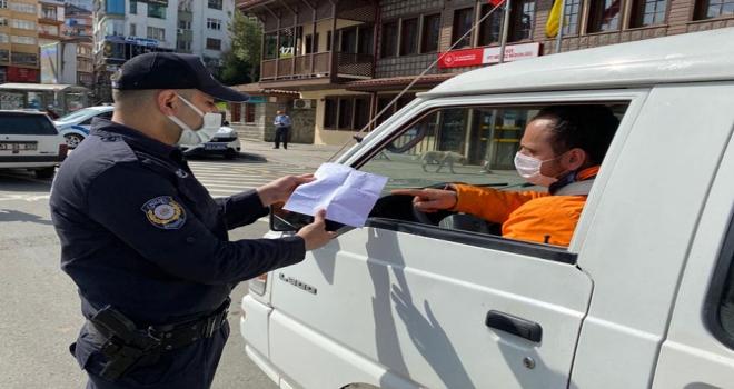 Rize'de Sokağa Çıkma Yasağı Denetimleri