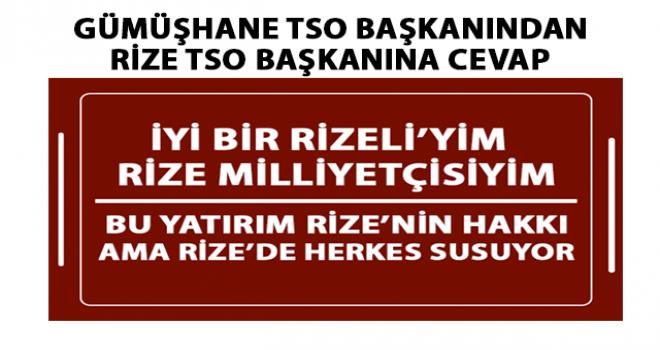 Gümüşhane'den Rize TSO Başkanı'na Demiryolu Cevabı